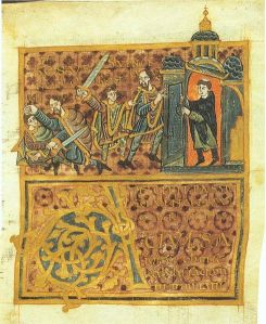 Wenceslaus' assassination: the duke flees from his brother (with sword) to a church, but the priest closes the door, Gumpold von Mantua, 10th century