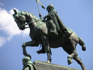 Statue of Saint Wenceslas on the same-named square in Prague