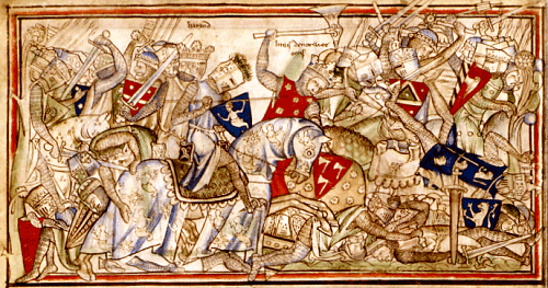 Anglo-Norman 13th manuscript showing a scene of the Battle of Stamford Bridge