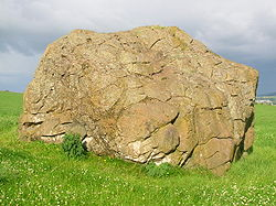 Clochoderick Rocking stone in Renfrewshire, Scotland. This stone is said to mark the burial place of Rhydderch