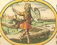 "Imaginary depiction of Creoda from John Speed's 1611 ""Saxon Heptarchy""."